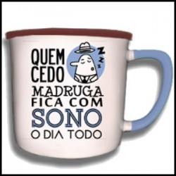 """Caneca Vintage """"Quem Cedo Madruga"""" REF. VM020"""