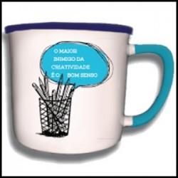 """Caneca Vintage """"Criatividade e Bom Senso"""" REF. VM019"""