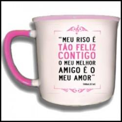 """Caneca Vintage """"Tão Feliz Contigo"""" REF. VM022"""